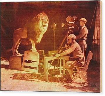 M G M Filming Of Leo The Lion Production Logo 1917 To 1928 Wood Print