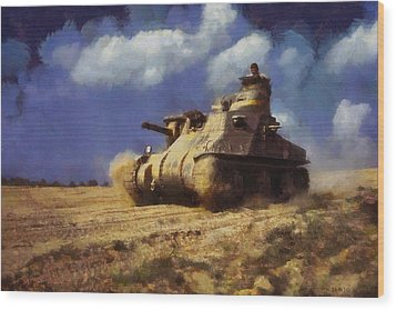 Wood Print featuring the painting M3 Lee Tank by Kai Saarto