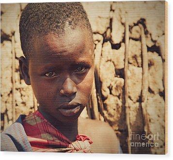 Maasai Child Portrait In Tanzania Wood Print by Michal Bednarek