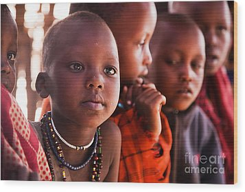 Maasai Children In School In Tanzania Wood Print by Michal Bednarek