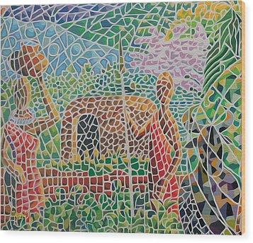 Maasai Couple And Cow Wood Print by Anthony Mwangi