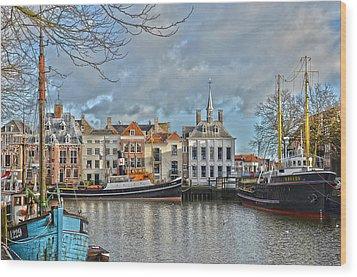 Maassluis Harbour Wood Print