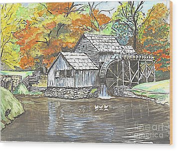 Wood Print featuring the painting Mabry Grist Mill In Virginia Usa by Carol Wisniewski