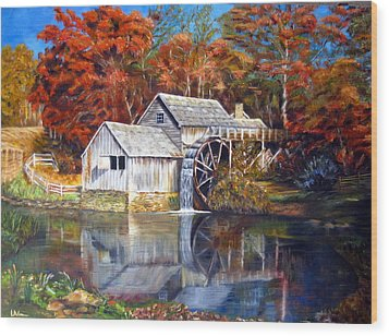 Wood Print featuring the painting Mabry Mill Blue Ridge Virginia by LaVonne Hand