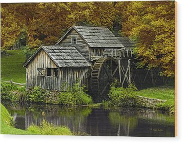 Mabry Mill In Autumn Wood Print