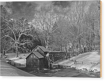 Mabry Mill In Snow Wood Print