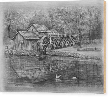 Mabry Mill Pencil Drawing Wood Print