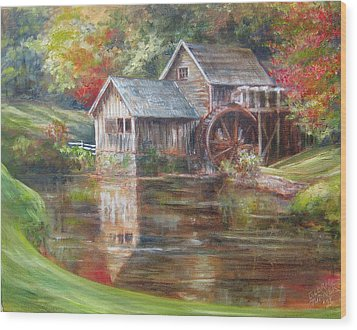 Wood Print featuring the painting Mabry Mill Sold  by Gloria Turner