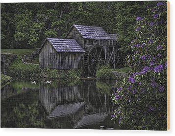 Mabry Mills In Spring 0002 Wood Print