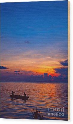 Mabul Island Sunset Borneo Malaysia Wood Print by Fototrav Print