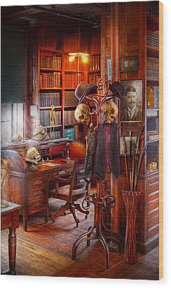 Macabre - In The Headhunters Study Wood Print by Mike Savad