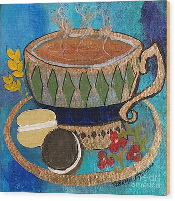 Wood Print featuring the painting Macaroons And Tea by Robin Maria Pedrero