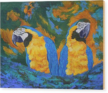 Wood Print featuring the painting Macaw Mates by Margaret Saheed