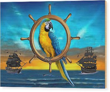 Macaw Pirate Parrot Wood Print by Glenn Holbrook