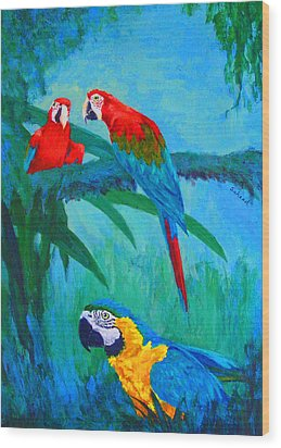 Wood Print featuring the painting Macaw Trio by Margaret Saheed