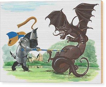 Macduff And The Dragon Wood Print by Margaryta Yermolayeva
