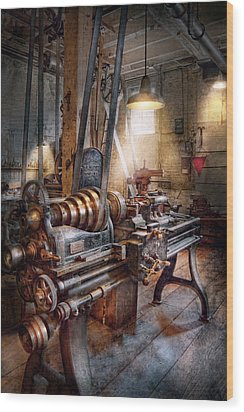 Machinist - Fire Department Lathe Wood Print by Mike Savad
