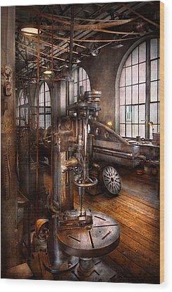 Machinist - Industrial Drill Press  Wood Print by Mike Savad