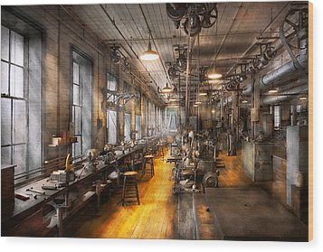 Machinist - Santa's Old Workshop Wood Print by Mike Savad