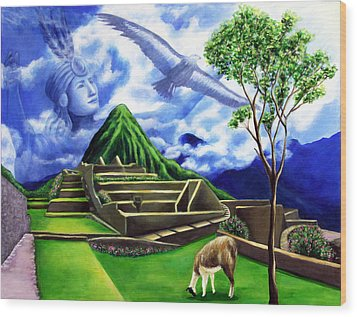 Machu Picchu Wood Print by Marilen Morales