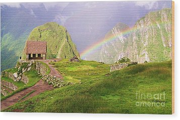 Machu Picchu Rainbow Wood Print