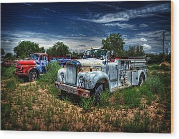 Wood Print featuring the photograph Mack Fire Truck And Graffiti Fire Truck by Ken Smith