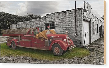 Mack Firetruck Wood Print by Chris Babcock