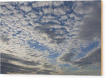 Mackerel Sky Natural Wood Print by Amanda Holmes Tzafrir