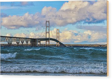 Mackinac Among The Waves Wood Print by Rachel Cohen