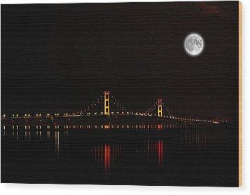 Mackinac Bridge And Moon Wood Print by Randy Pollard