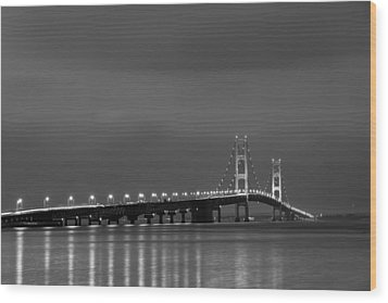 Mackinac Bridge Black And White Wood Print by Sebastian Musial