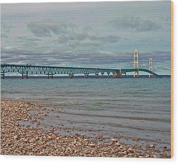 Mackinac Bridge Wood Print by Brady D Hebert