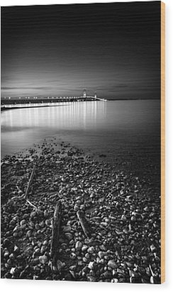 Wood Print featuring the photograph Mackinac Bridge Bw by Larry Carr