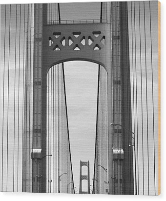 Mackinac Bridge Detail 2 Bw Wood Print