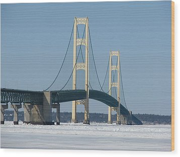 Mackinac Bridge In Winter Wood Print