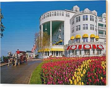 Mackinac Grand Hotel Wood Print by Dennis Cox WorldViews
