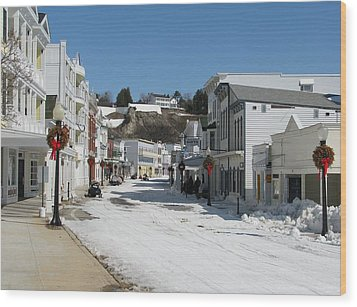 Mackinac Island In Winter Wood Print by Keith Stokes