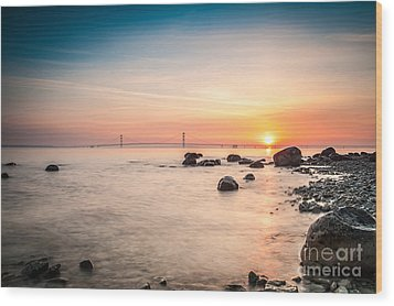 Mackinac Sunrise Wood Print by Larry Carr