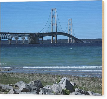 Wood Print featuring the photograph Mackinaw Bridge by Bill Woodstock