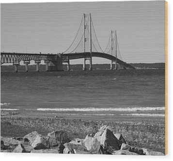 Wood Print featuring the photograph Mackinaw Bridge Black And White by Bill Woodstock
