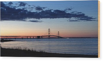 Mackinaw Bridge Twilight Wood Print