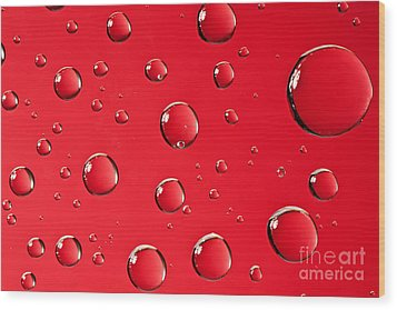 Macro Water Drop On Red Wood Print by Sharon Dominick