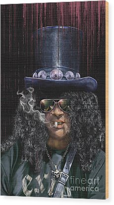 Mad As A Hatter - Slash Wood Print by Reggie Duffie