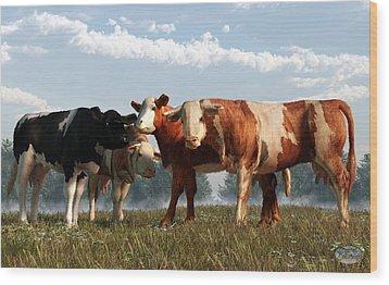Mad Cows Wood Print by Daniel Eskridge