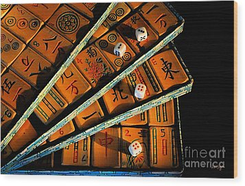 Mad For Mahjong Wood Print by Lois Bryan