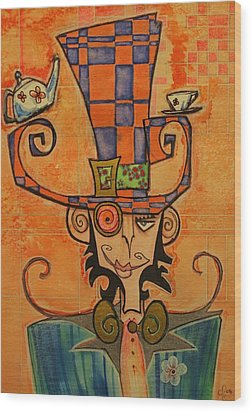 Mad Hatter Wood Print by Ellen Henneke