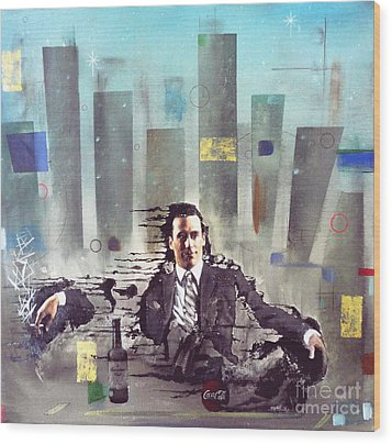 Mad Men Disintegration Of Don Draper Wood Print by John Lyes