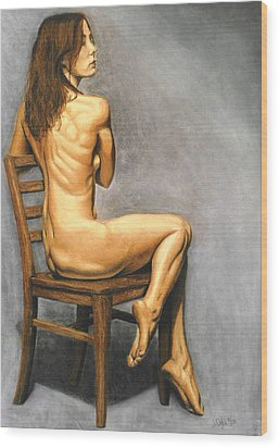 Wood Print featuring the pastel Madame Brooke by Joseph Ogle