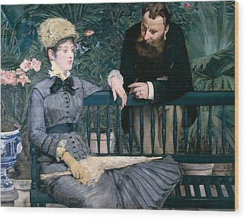 Madame Manet In Greenhouse Wood Print by Edouard Manet