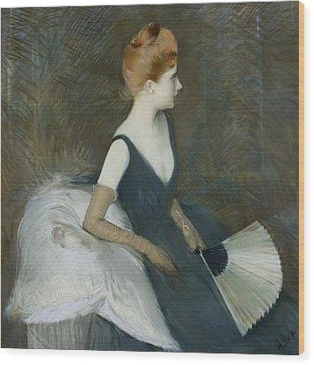 Madame Marthe Letellier Sitting On A Sofa Wood Print by Paul Cesar Helleu